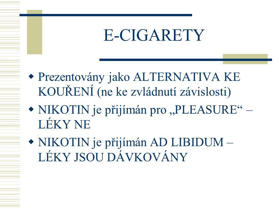 """E-CIGARETY Prezentovány jako ALTERNATIVA KE KOUŘENÍ (ne ke zvládnutí závislosti) NIKOTIN je přijímán pro """"PLEASURE – LÉKY NE."""