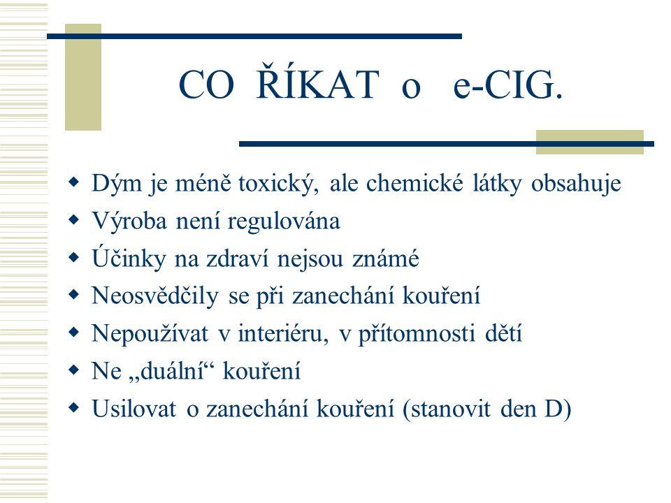 CO ŘÍKAT o e-CIG. Dým je méně toxický, ale chemické látky obsahuje