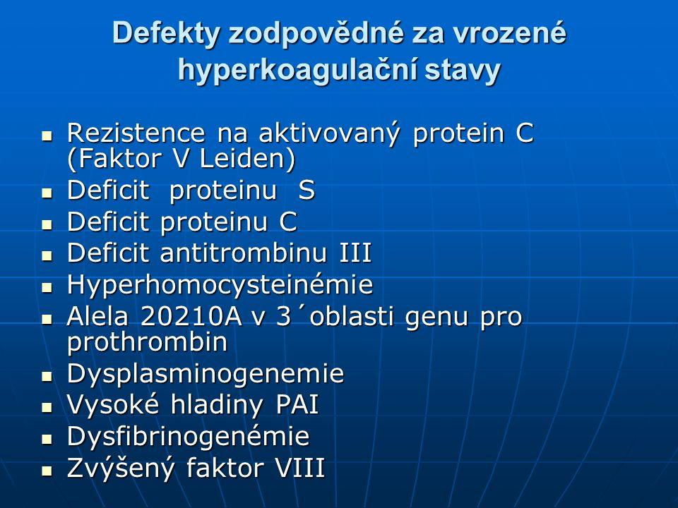 Defekty zodpovědné za vrozené hyperkoagulační stavy