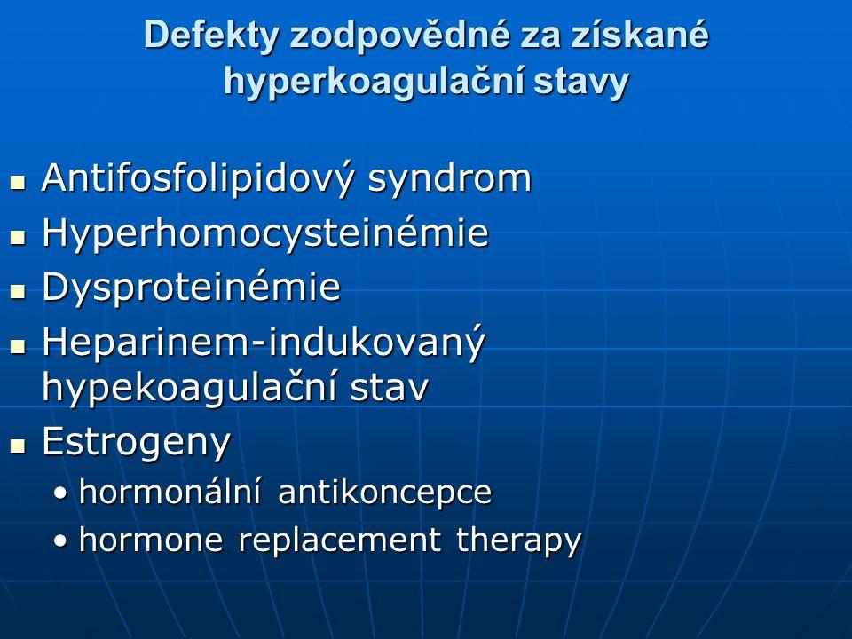 Defekty zodpovědné za získané hyperkoagulační stavy