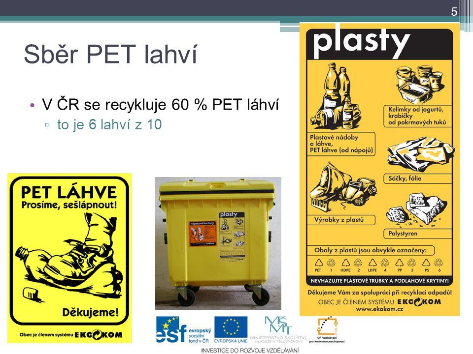 Sběr PET lahví V ČR se recykluje 60 % PET láhví to je 6 lahví z 10