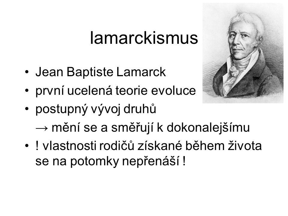 lamarckismus Jean Baptiste Lamarck první ucelená teorie evoluce