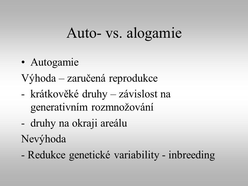 Auto- vs. alogamie Autogamie Výhoda – zaručená reprodukce