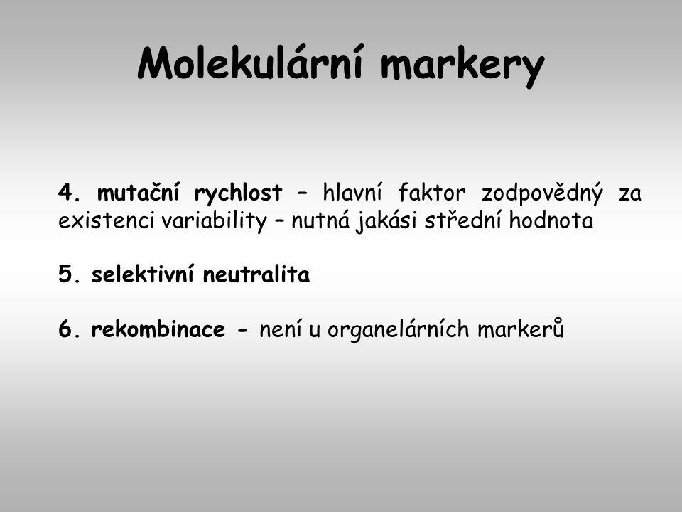 Molekulární markery 4. mutační rychlost – hlavní faktor zodpovědný za existenci variability – nutná jakási střední hodnota.