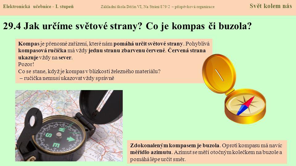 29.4 Jak určíme světové strany Co je kompas či buzola