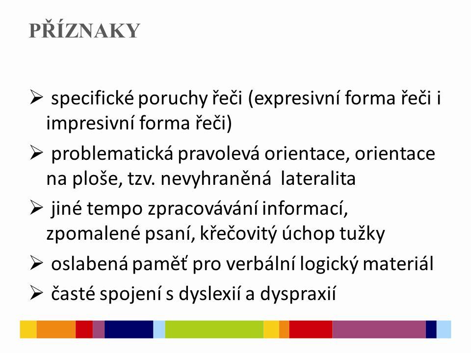 PŘÍZNAKY specifické poruchy řeči (expresivní forma řeči i impresivní forma řeči)