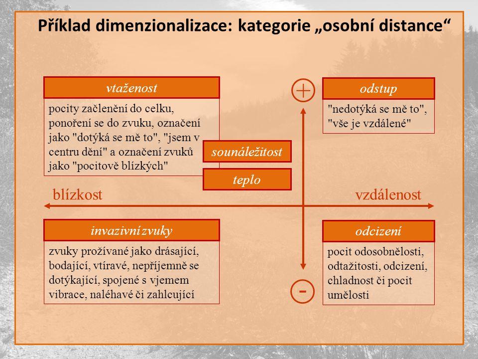 """+ - Příklad dimenzionalizace: kategorie """"osobní distance blízkost"""