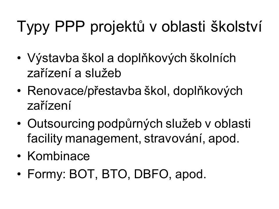 Typy PPP projektů v oblasti školství