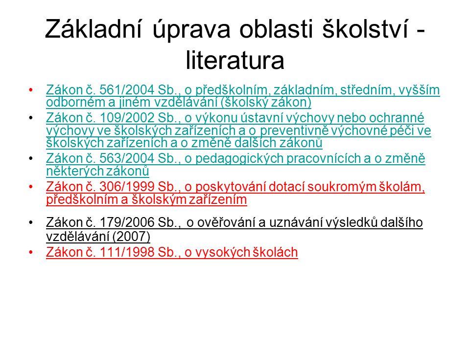 Základní úprava oblasti školství - literatura