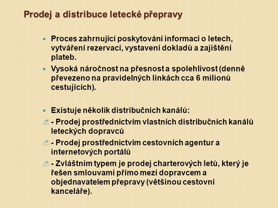 Prodej a distribuce letecké přepravy