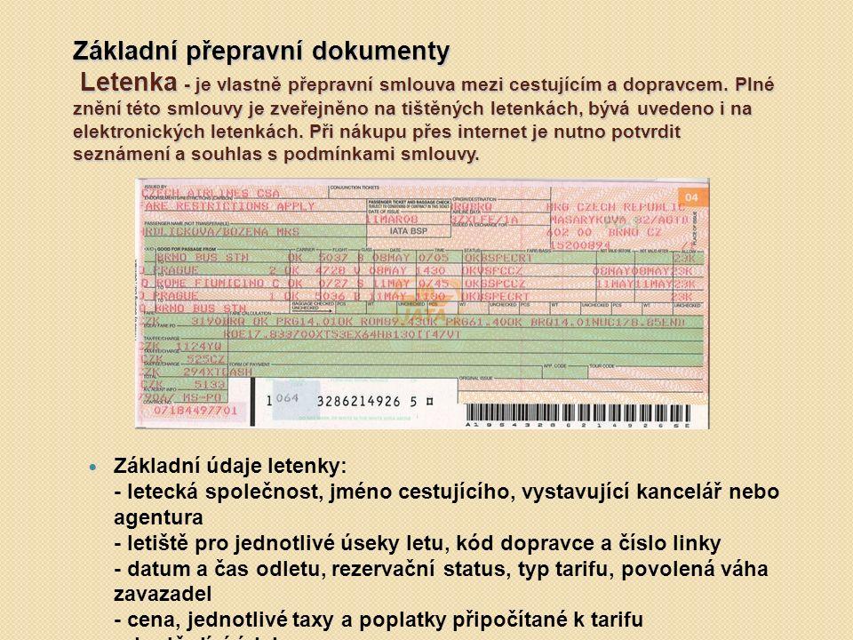Základní přepravní dokumenty Letenka - je vlastně přepravní smlouva mezi cestujícím a dopravcem. Plné znění této smlouvy je zveřejněno na tištěných letenkách, bývá uvedeno i na elektronických letenkách. Při nákupu přes internet je nutno potvrdit seznámení a souhlas s podmínkami smlouvy.