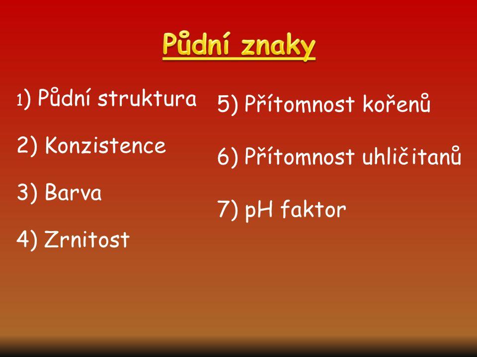 Půdní znaky 5) Přítomnost kořenů 6) Přítomnost uhličitanů 7) pH faktor