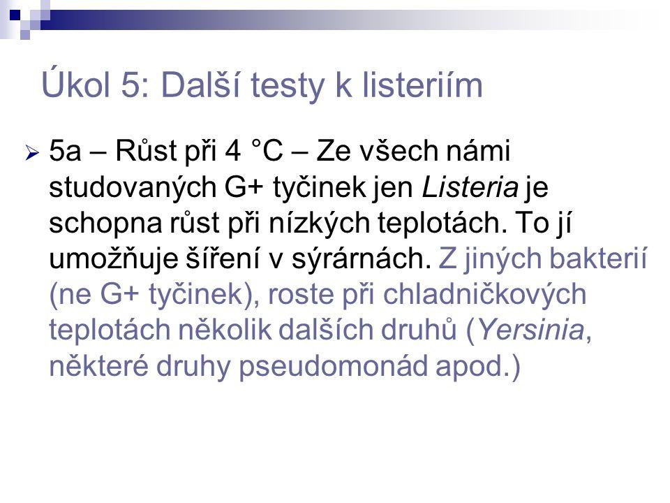 Úkol 5: Další testy k listeriím