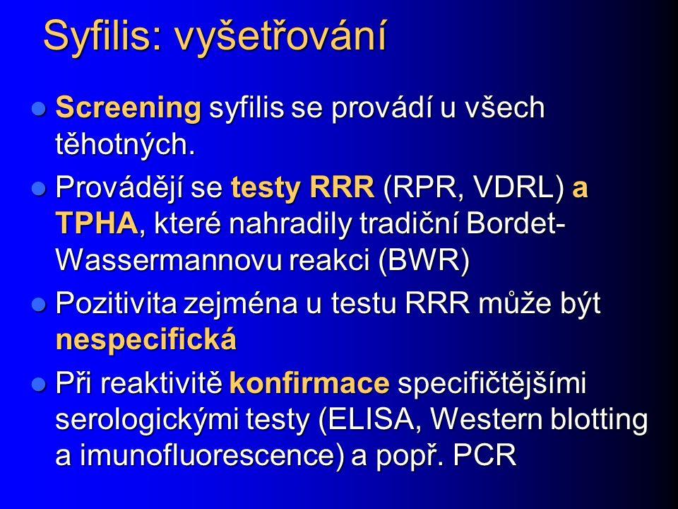 Syfilis: vyšetřování Screening syfilis se provádí u všech těhotných.
