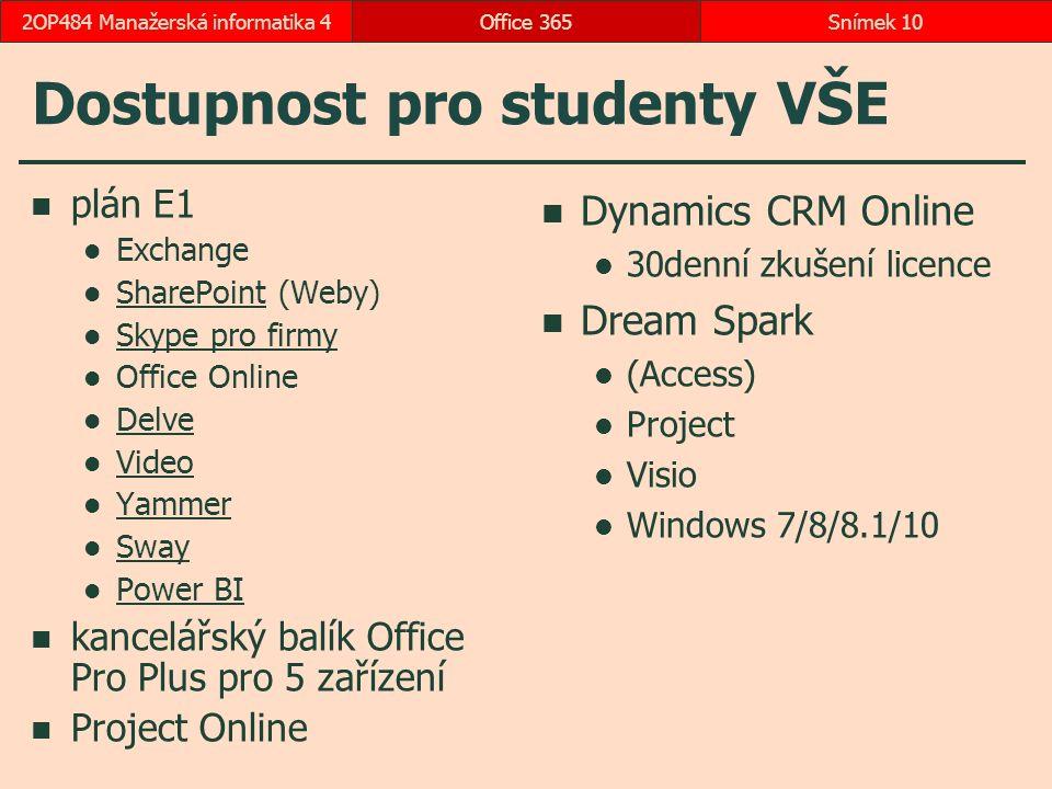 Dostupnost pro studenty VŠE