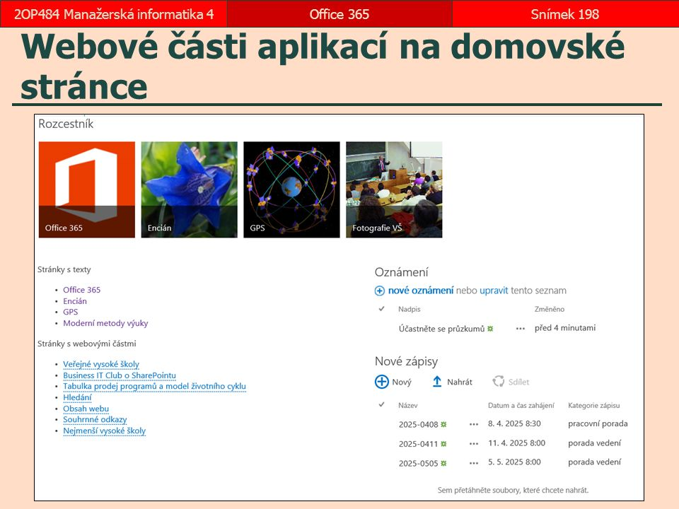 Webové části aplikací na domovské stránce