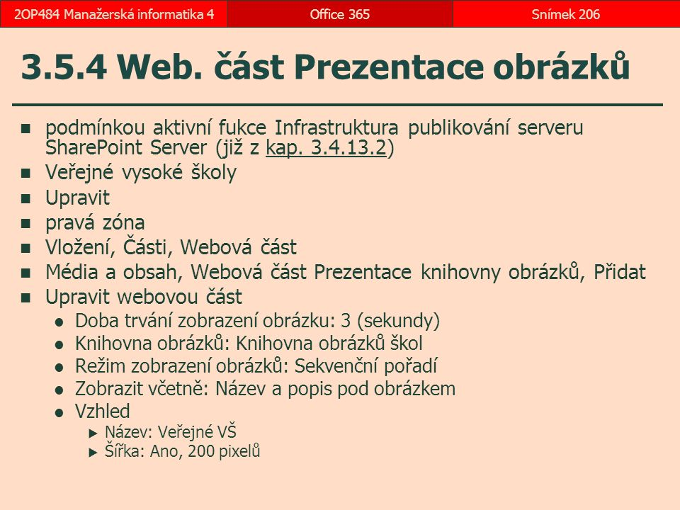 3.5.4 Web. část Prezentace obrázků
