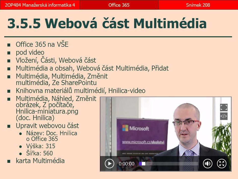 3.5.5 Webová část Multimédia