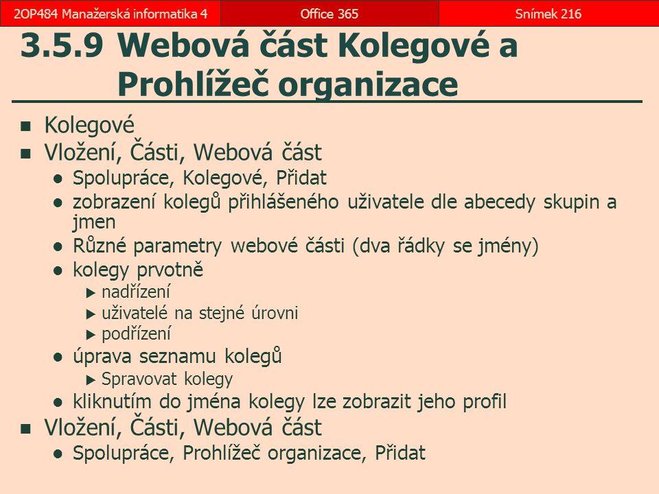 3.5.9 Webová část Kolegové a Prohlížeč organizace
