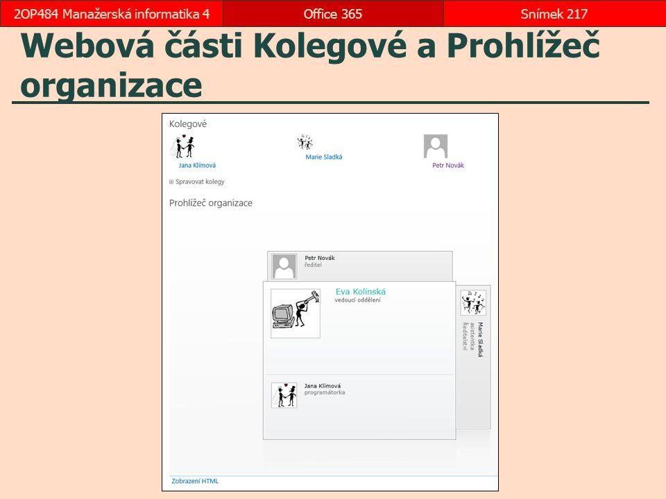 Webová části Kolegové a Prohlížeč organizace
