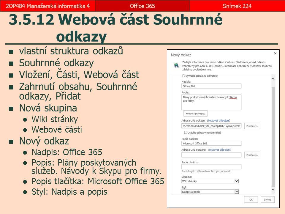 3.5.12 Webová část Souhrnné odkazy