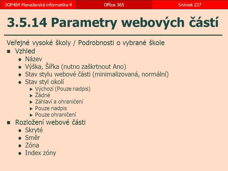 3.5.14 Parametry webových částí