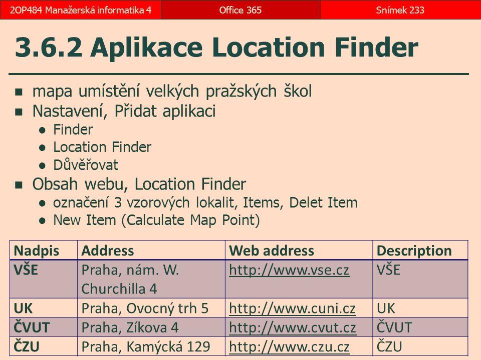 3.6.2 Aplikace Location Finder