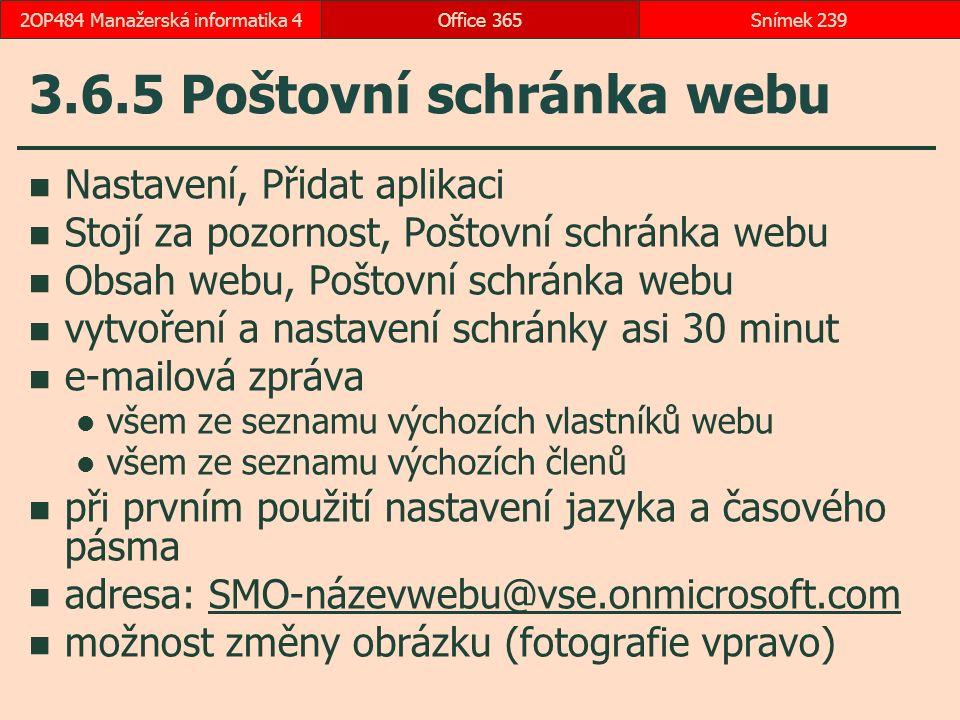 3.6.5 Poštovní schránka webu