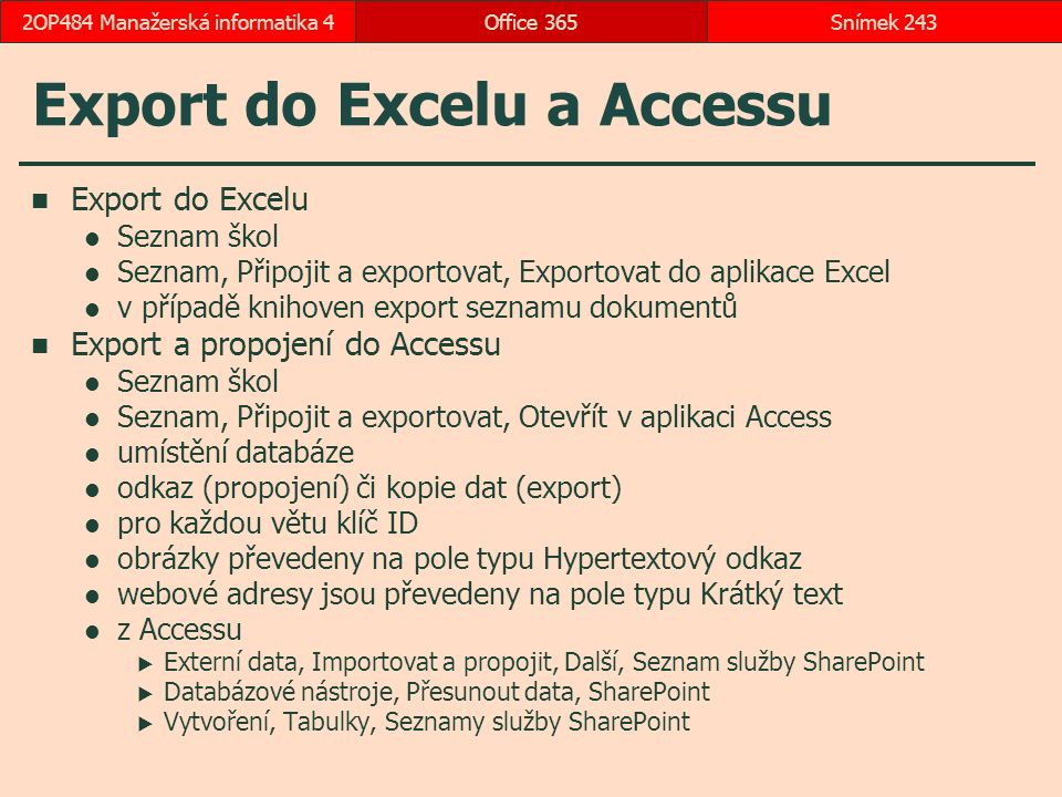 Export do Excelu a Accessu