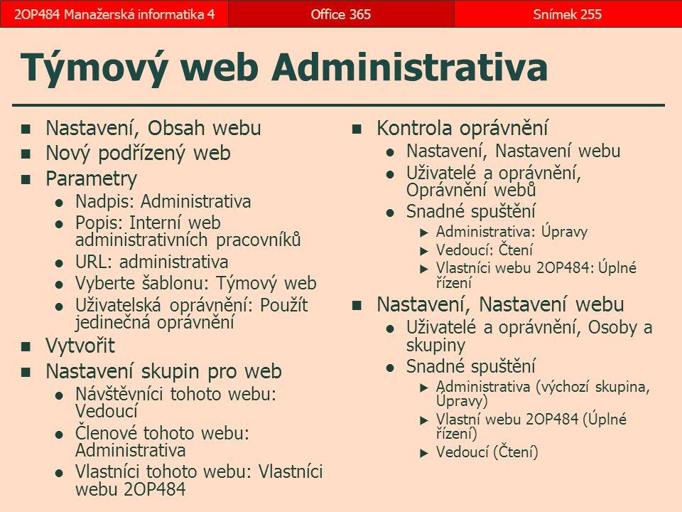 Týmový web Administrativa