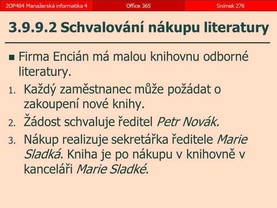 3.9.9.2 Schvalování nákupu literatury