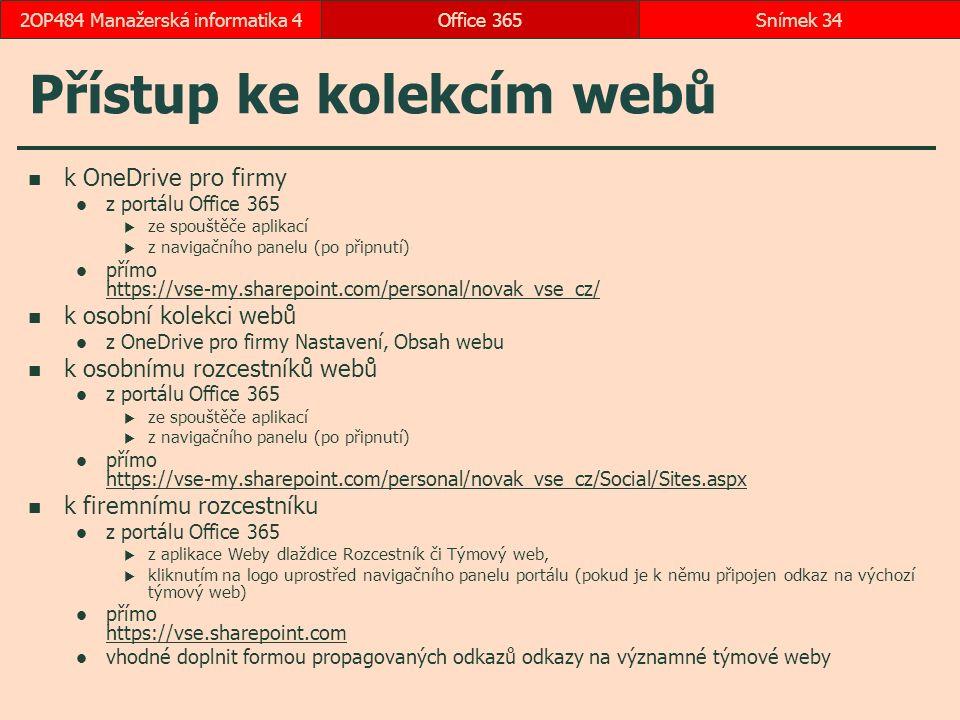 Přístup ke kolekcím webů