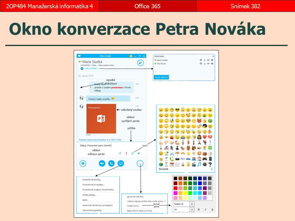 Okno konverzace Petra Nováka