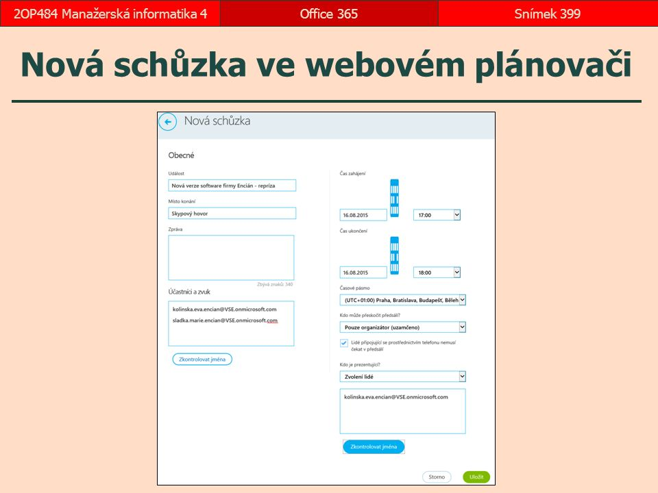 Nová schůzka ve webovém plánovači