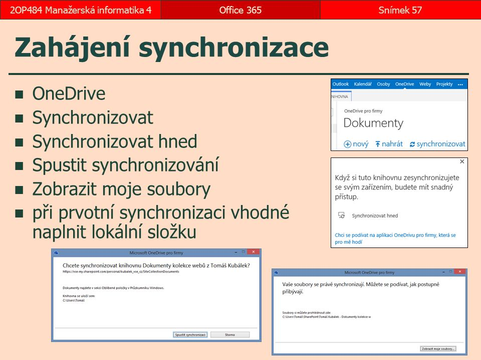 Zahájení synchronizace