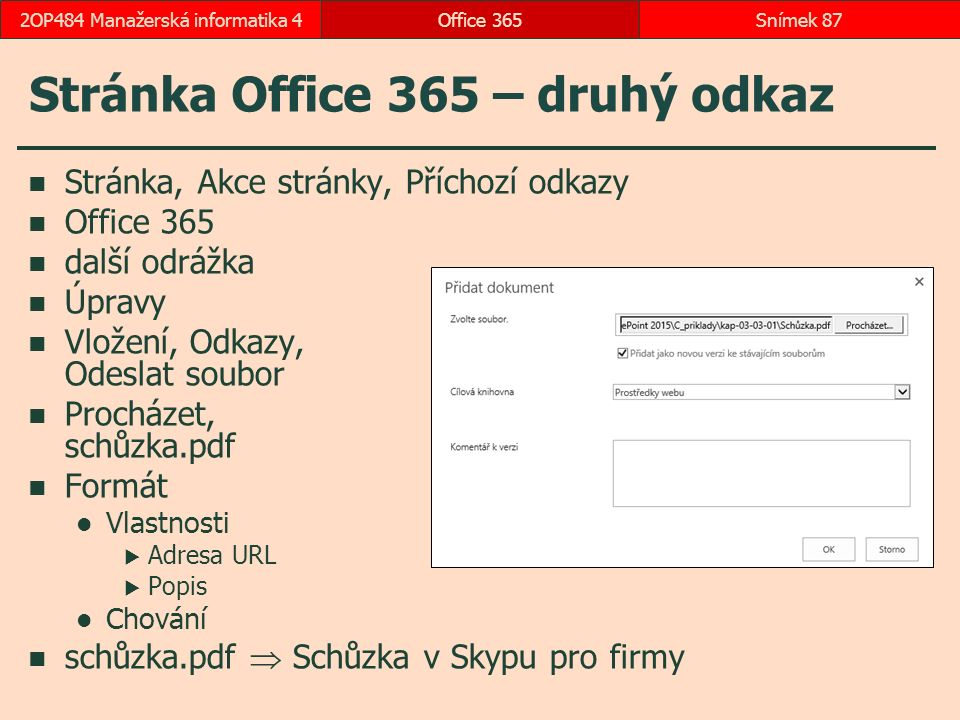 Stránka Office 365 – druhý odkaz