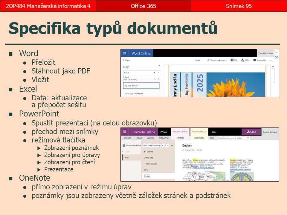 Specifika typů dokumentů