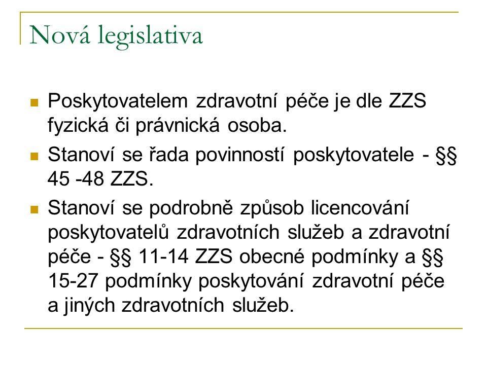 Nová legislativa Poskytovatelem zdravotní péče je dle ZZS fyzická či právnická osoba. Stanoví se řada povinností poskytovatele - §§ 45 -48 ZZS.
