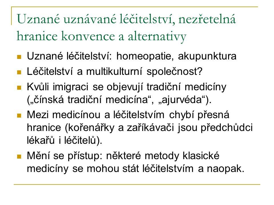 Uznané uznávané léčitelství, nezřetelná hranice konvence a alternativy