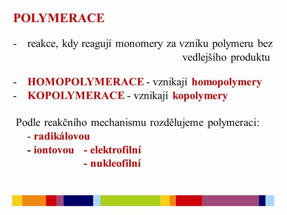 POLYMERACE reakce, kdy reagují monomery za vzniku polymeru bez vedlejšího produktu. HOMOPOLYMERACE - vznikají homopolymery.