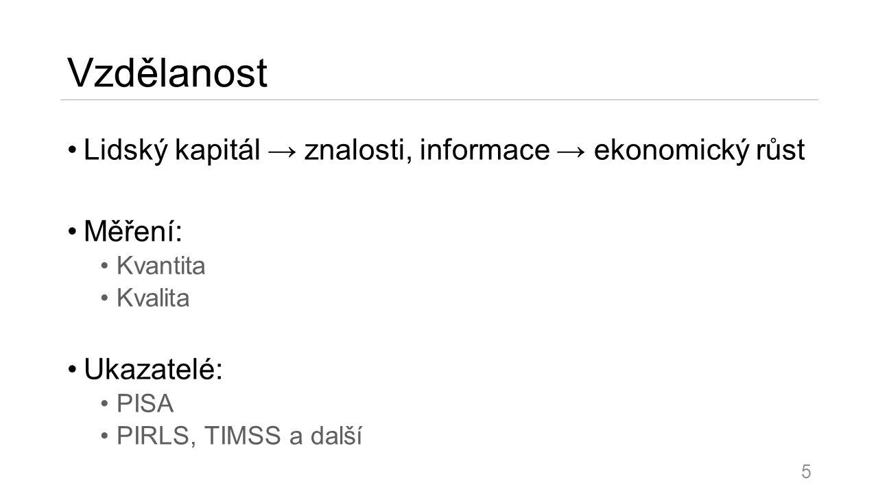 Vzdělanost Lidský kapitál → znalosti, informace → ekonomický růst