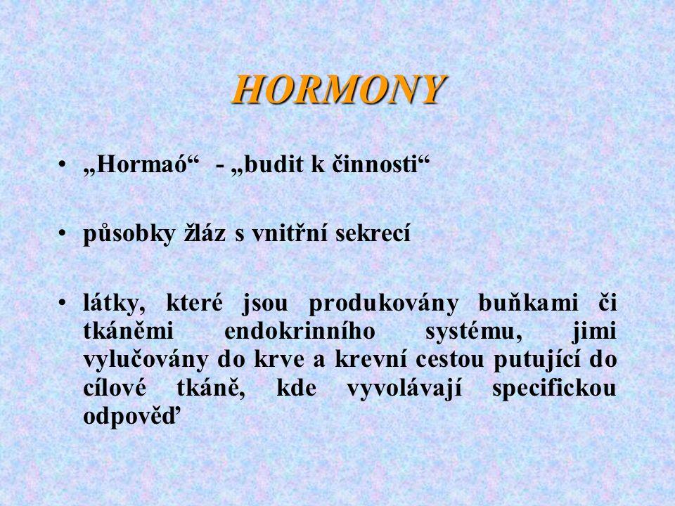 """HORMONY """"Hormaó - """"budit k činnosti působky žláz s vnitřní sekrecí"""