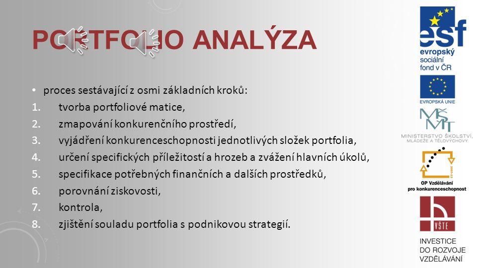 Portfolio analýza proces sestávající z osmi základních kroků: