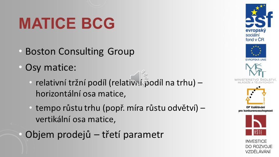 Matice bcg Boston Consulting Group Osy matice: