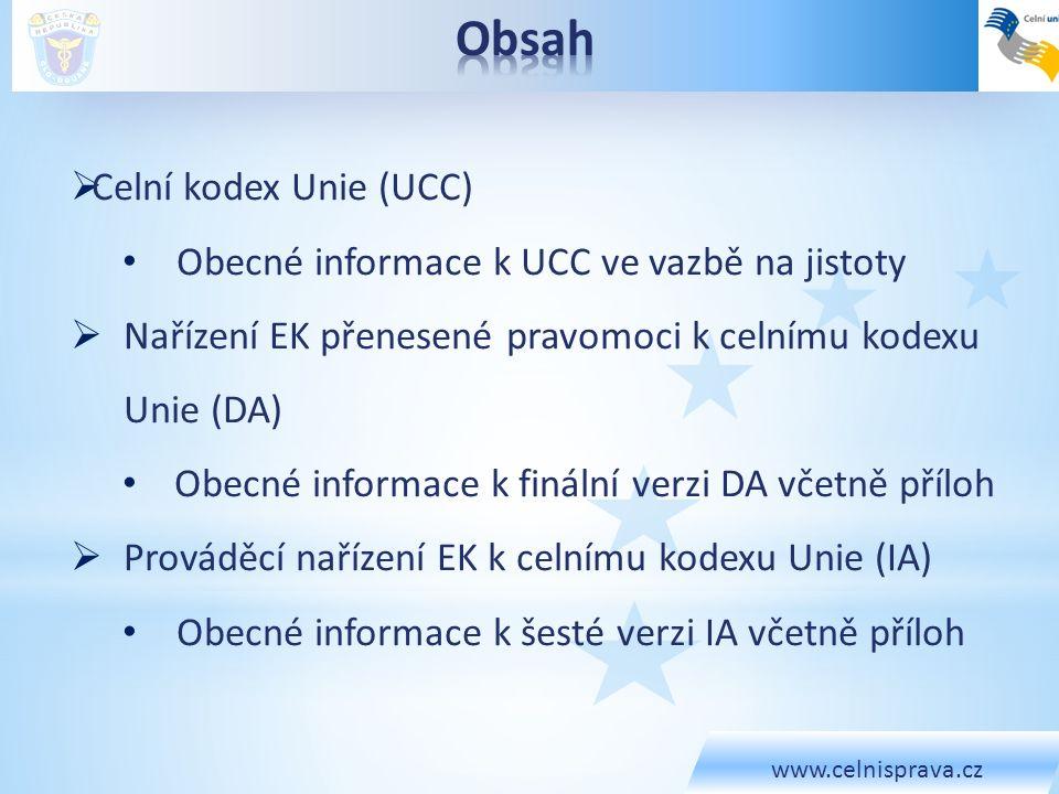 Obsah Celní kodex Unie (UCC)