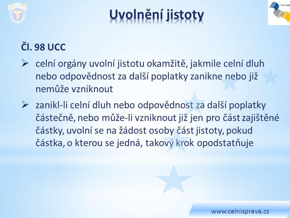 Uvolnění jistoty Čl. 98 UCC