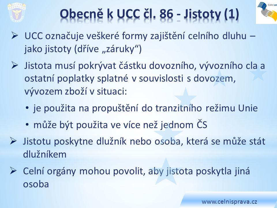 Obecně k UCC čl. 86 - Jistoty (1)