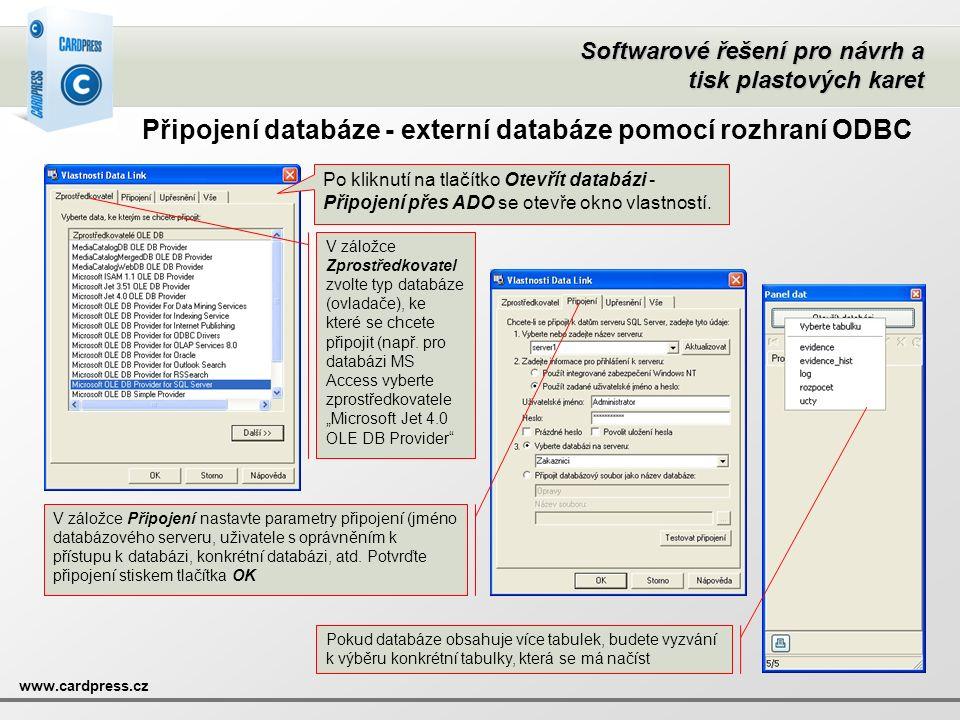Připojení databáze - externí databáze pomocí rozhraní ODBC