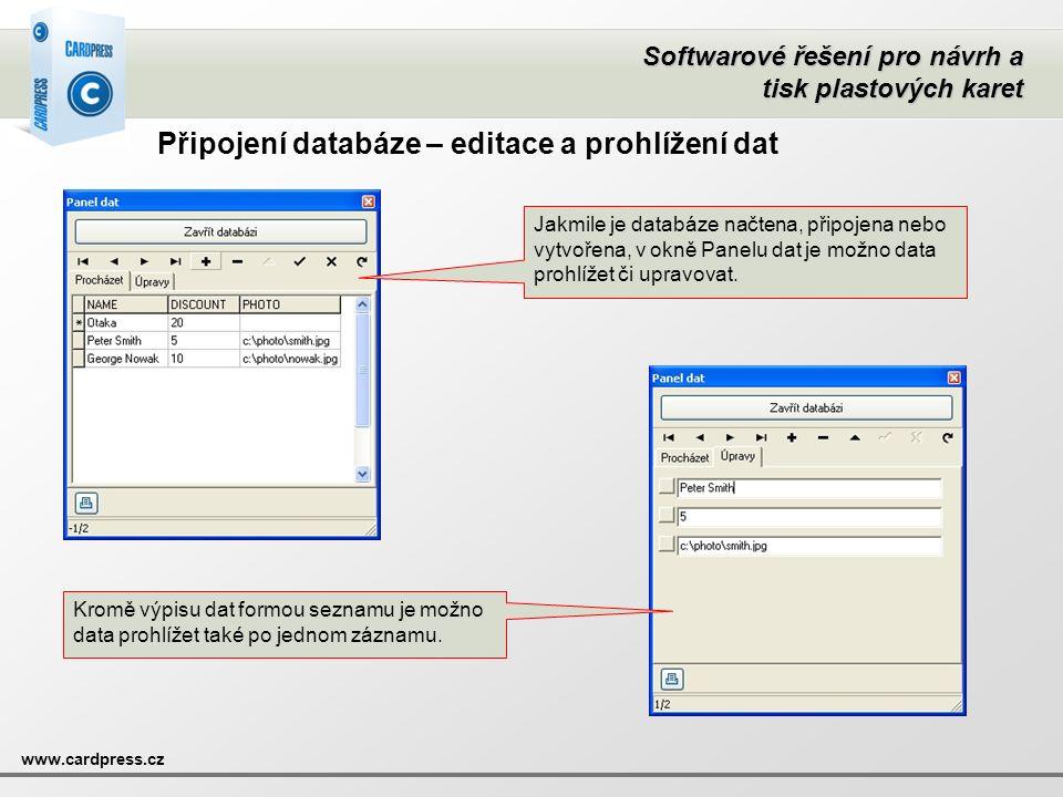 Připojení databáze – editace a prohlížení dat