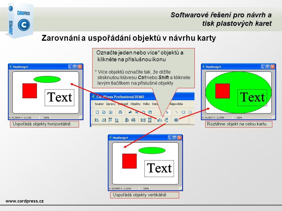 Zarovnání a uspořádání objektů v návrhu karty